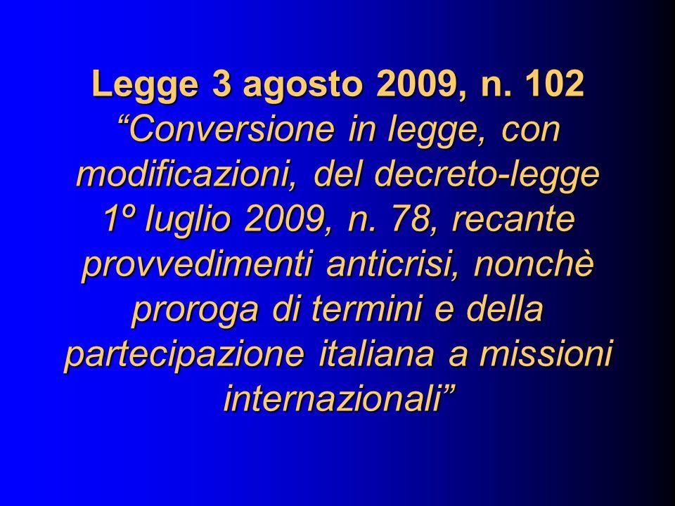 Legge 3 agosto 2009, n.