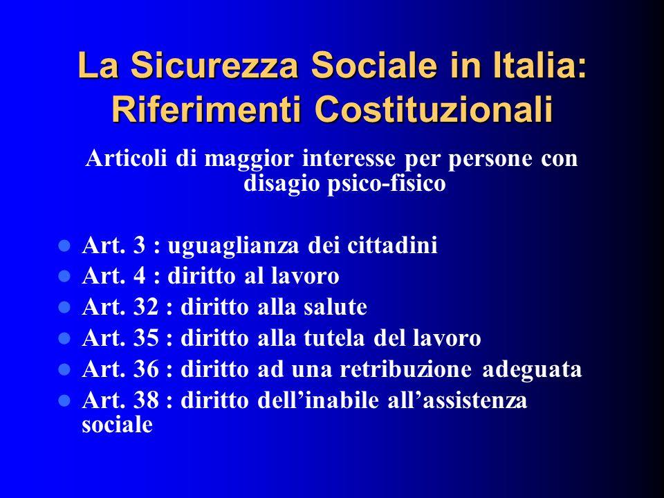 La Sicurezza Sociale in Italia: Riferimenti Costituzionali