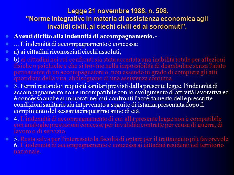 Legge 21 novembre 1988, n. 508. Norme integrative in materia di assistenza economica agli invalidi civili, ai ciechi civili ed ai sordomuti .