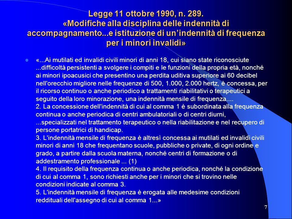 Legge 11 ottobre 1990, n. 289. «Modifiche alla disciplina delle indennità di accompagnamento...e istituzione di un'indennità di frequenza per i minori invalidi»