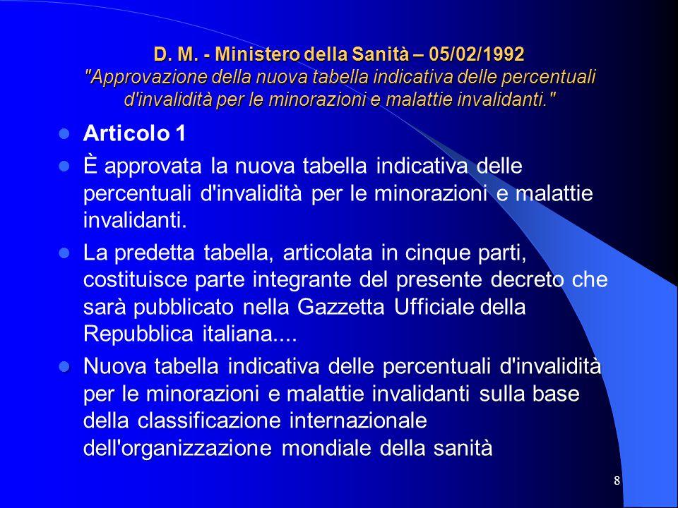 D. M. - Ministero della Sanità – 05/02/1992 Approvazione della nuova tabella indicativa delle percentuali d invalidità per le minorazioni e malattie invalidanti.