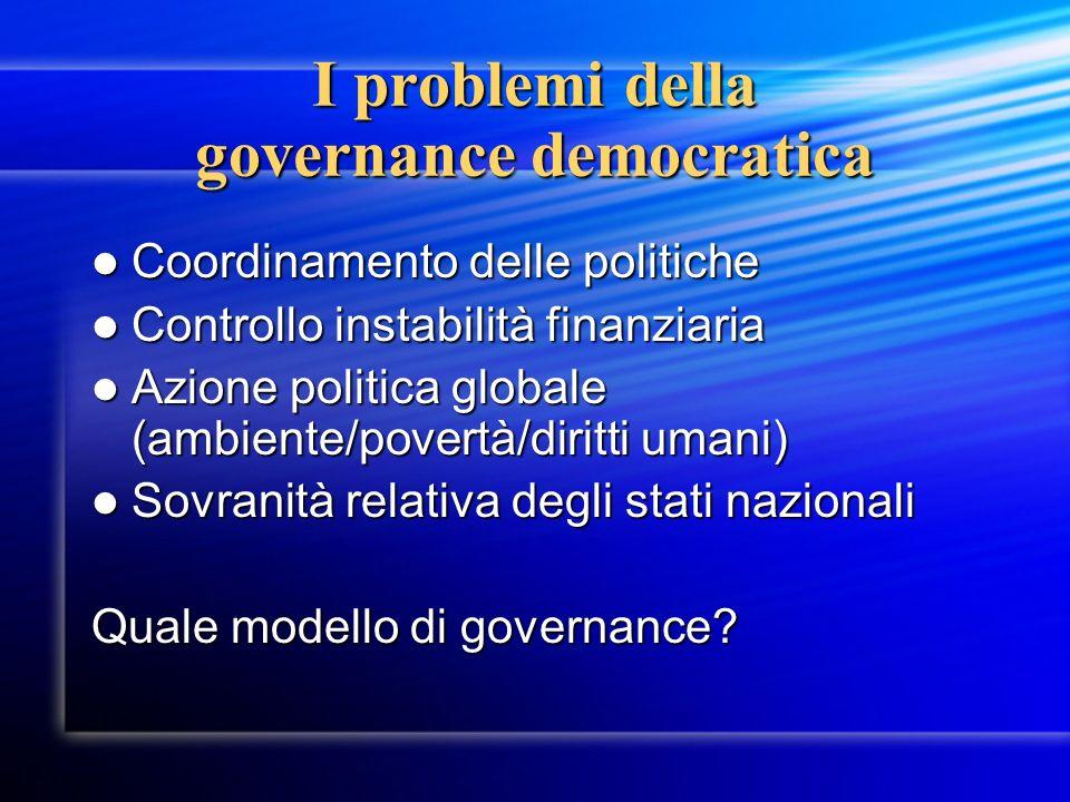 I problemi della governance democratica