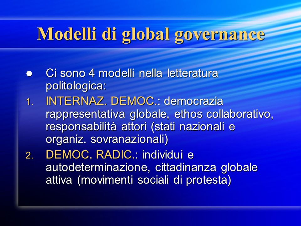 Modelli di global governance