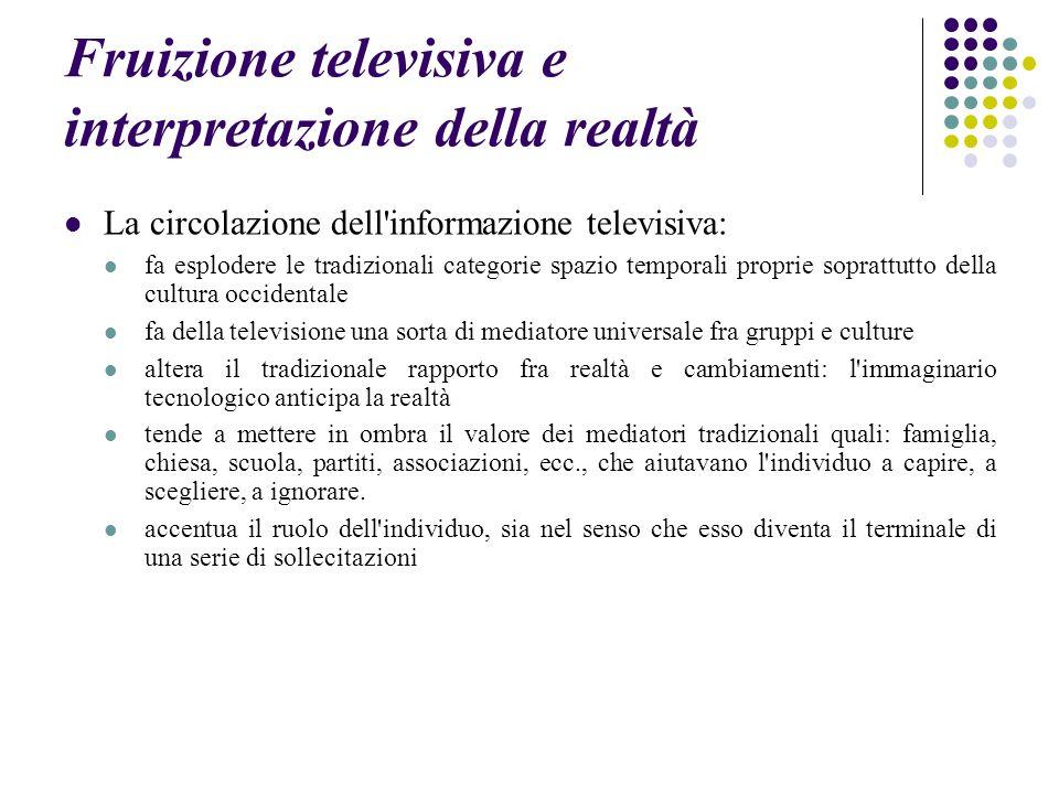 Fruizione televisiva e interpretazione della realtà