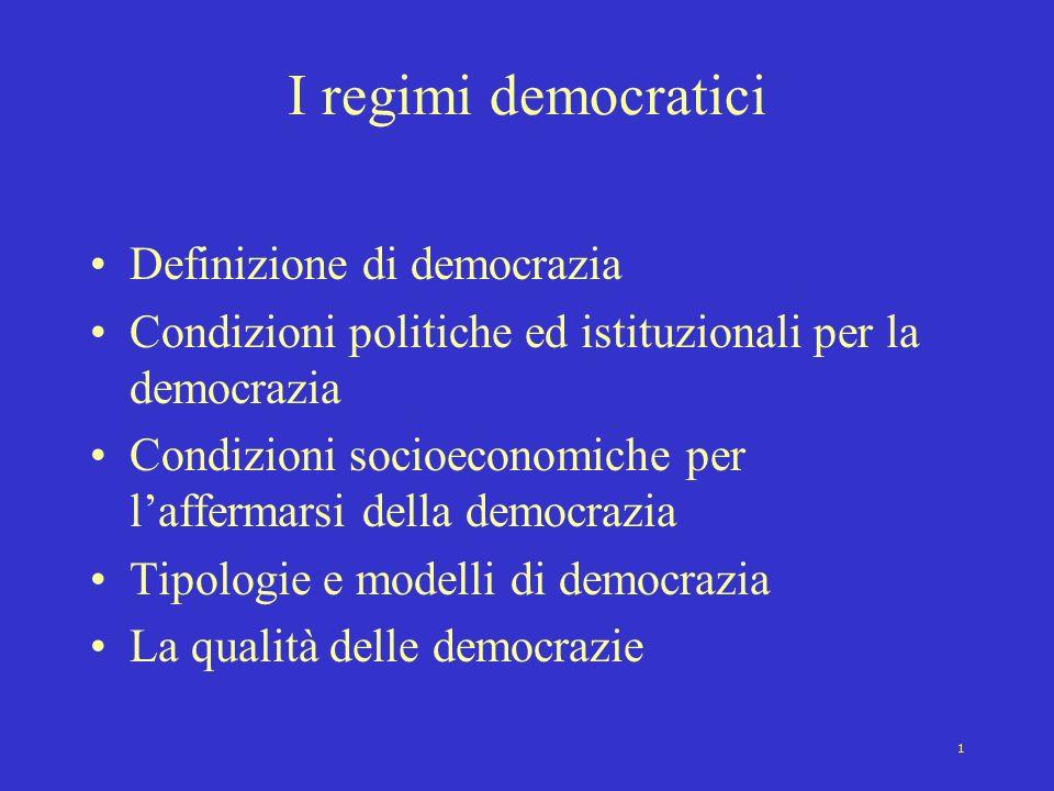 I regimi democratici Definizione di democrazia