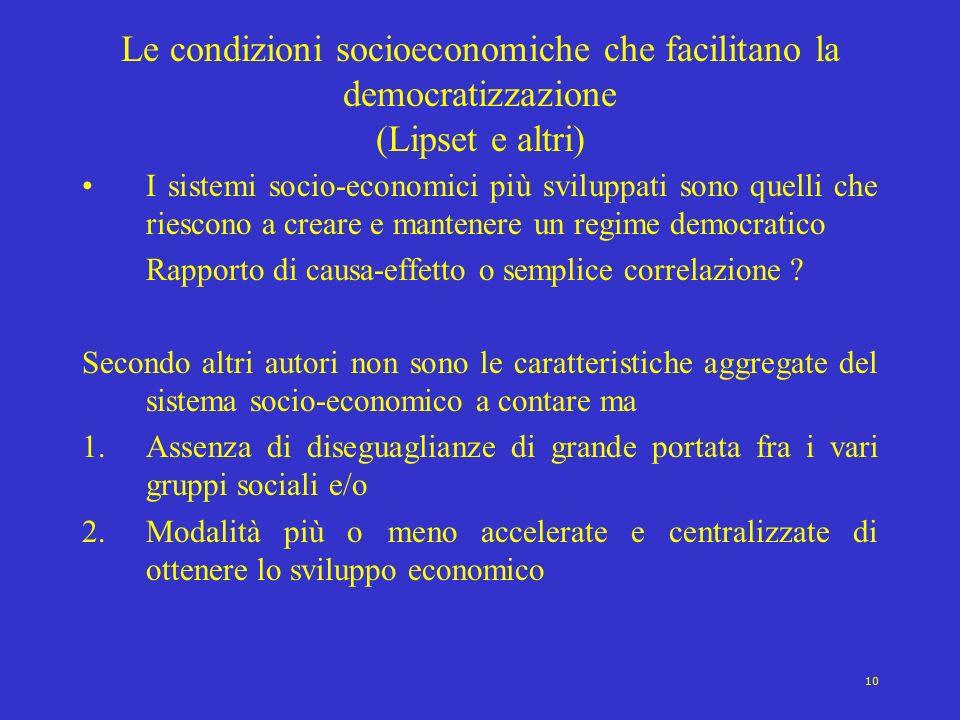 Le condizioni socioeconomiche che facilitano la democratizzazione (Lipset e altri)