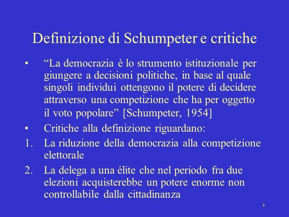 Definizione di Schumpeter e critiche