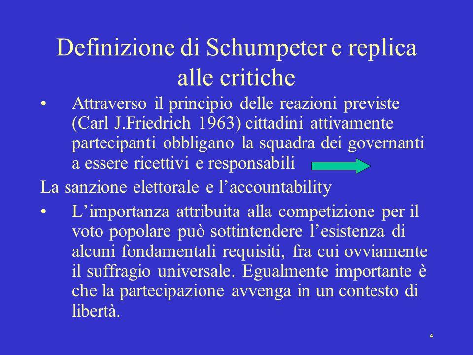 Definizione di Schumpeter e replica alle critiche