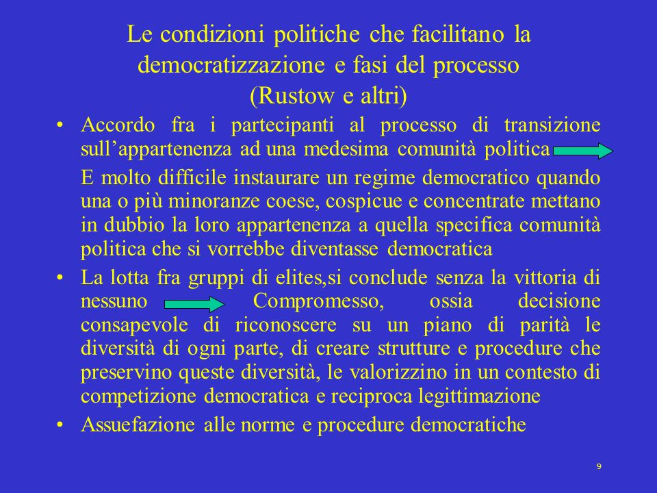Le condizioni politiche che facilitano la democratizzazione e fasi del processo (Rustow e altri)