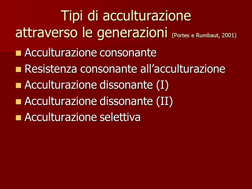 Tipi di acculturazione attraverso le generazioni (Portes e Rumbaut, 2001)