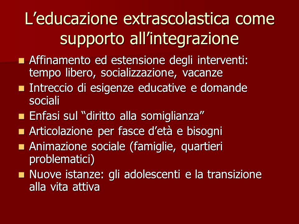 L'educazione extrascolastica come supporto all'integrazione