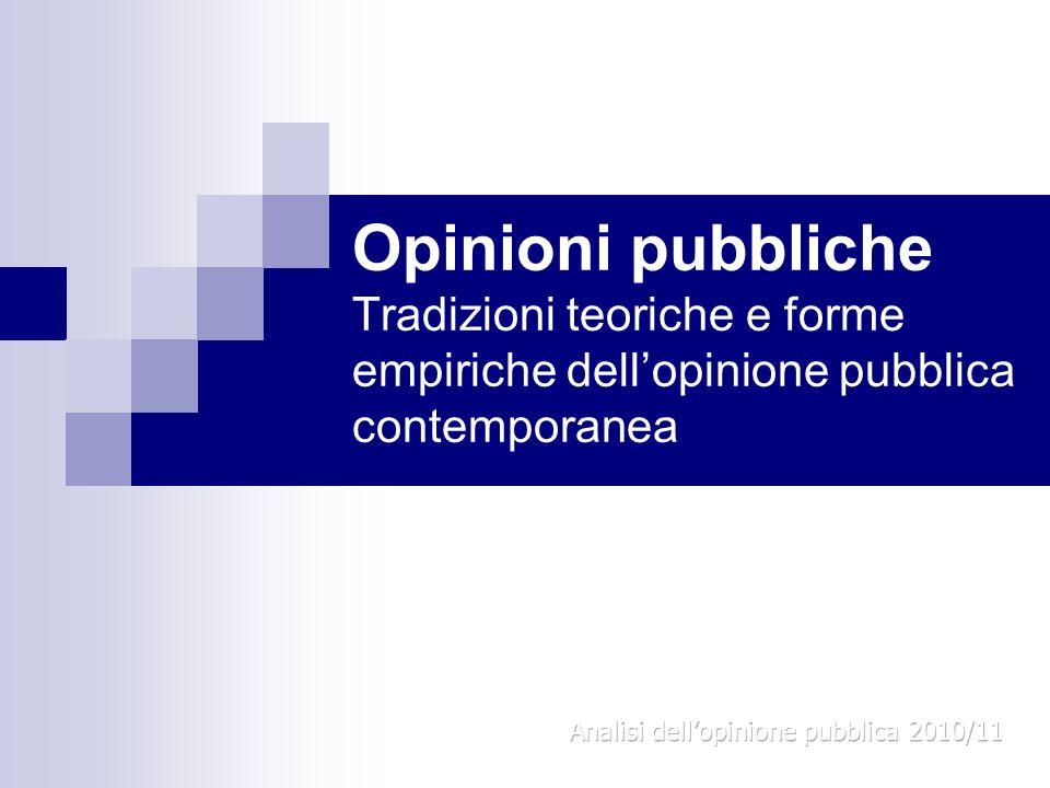 Opinioni pubbliche Tradizioni teoriche e forme empiriche dell'opinione pubblica contemporanea