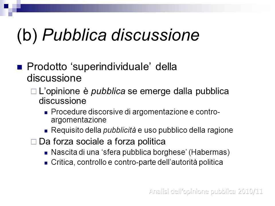 (b) Pubblica discussione