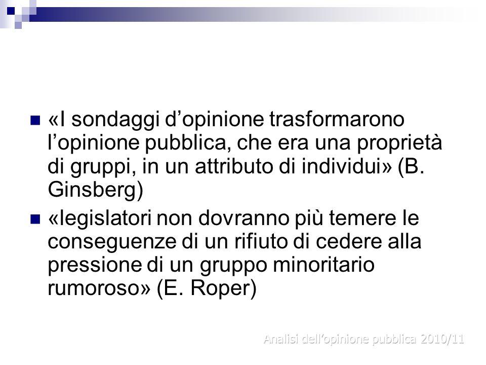 «I sondaggi d'opinione trasformarono l'opinione pubblica, che era una proprietà di gruppi, in un attributo di individui» (B. Ginsberg)