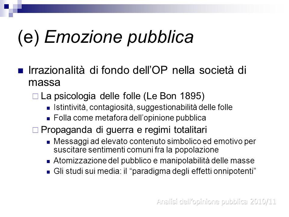 (e) Emozione pubblica Irrazionalità di fondo dell'OP nella società di massa. La psicologia delle folle (Le Bon 1895)