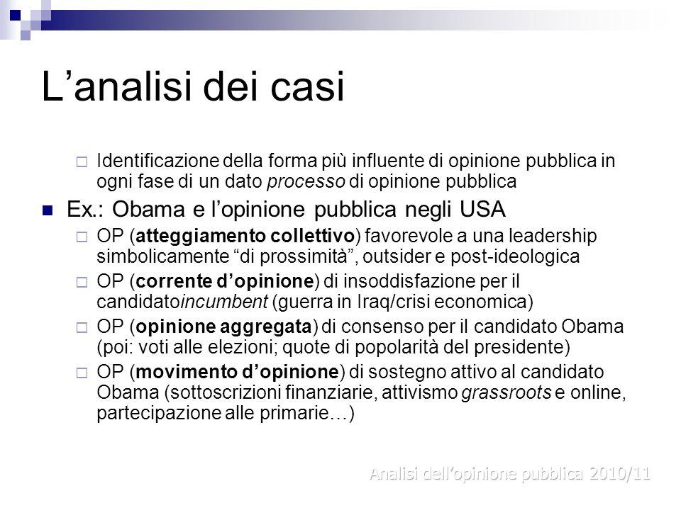 L'analisi dei casi Ex.: Obama e l'opinione pubblica negli USA