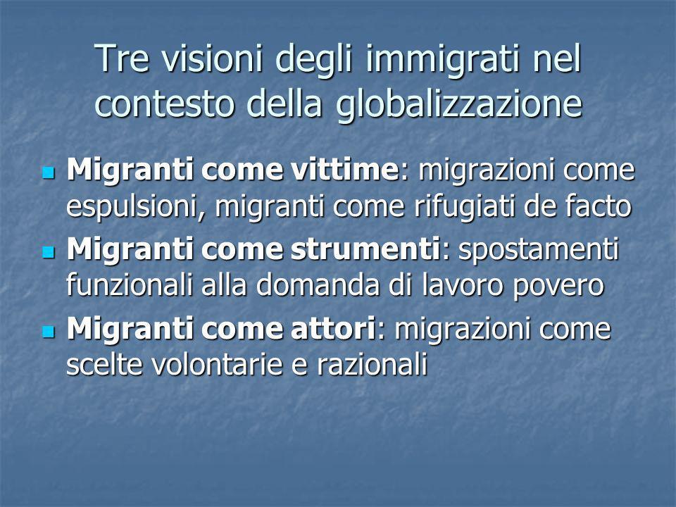 Tre visioni degli immigrati nel contesto della globalizzazione