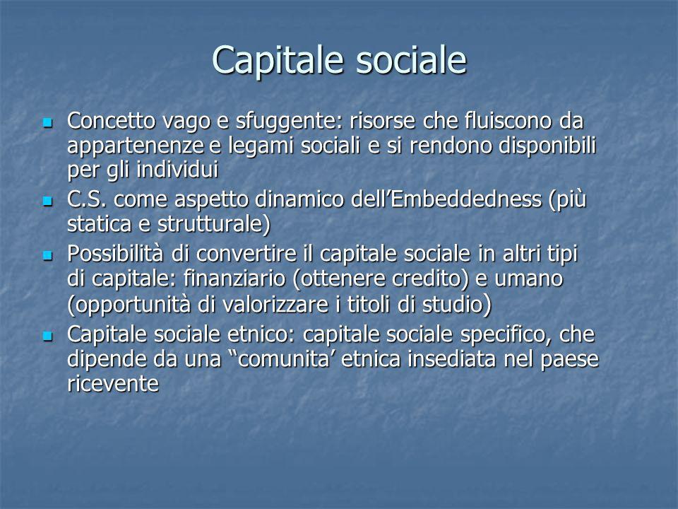 Capitale sociale Concetto vago e sfuggente: risorse che fluiscono da appartenenze e legami sociali e si rendono disponibili per gli individui.
