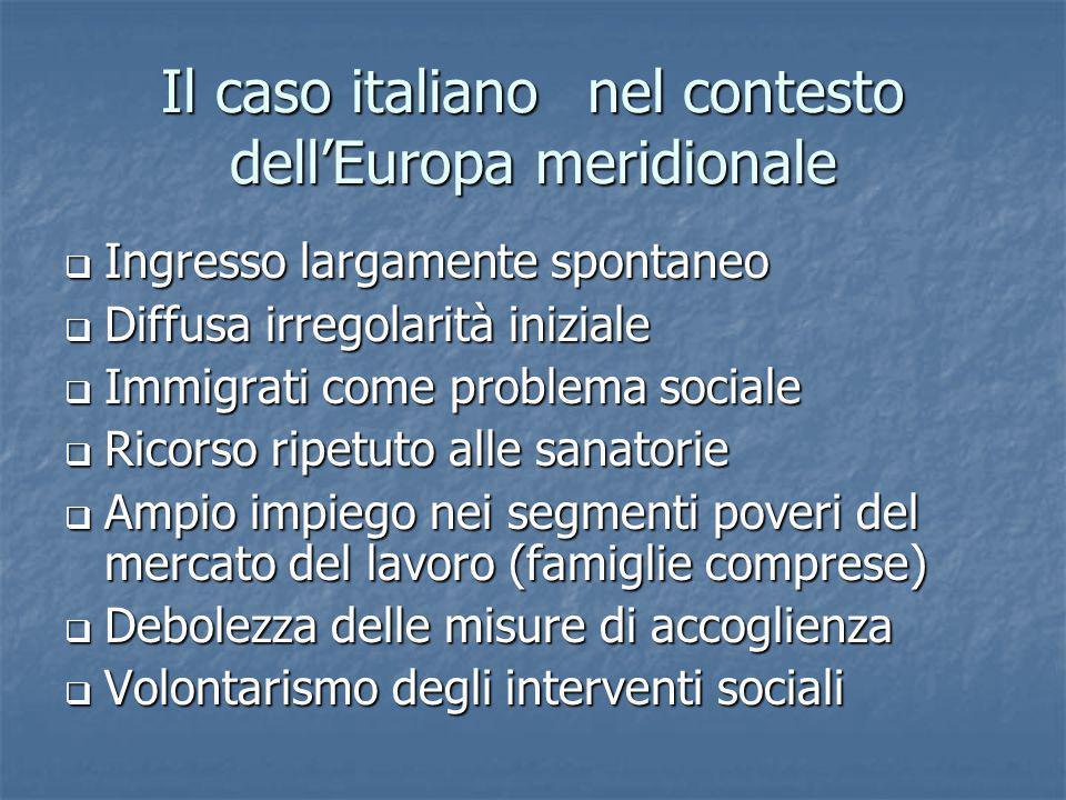Il caso italiano nel contesto dell'Europa meridionale