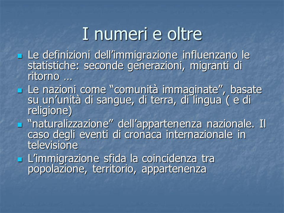 I numeri e oltre Le definizioni dell'immigrazione influenzano le statistiche: seconde generazioni, migranti di ritorno …
