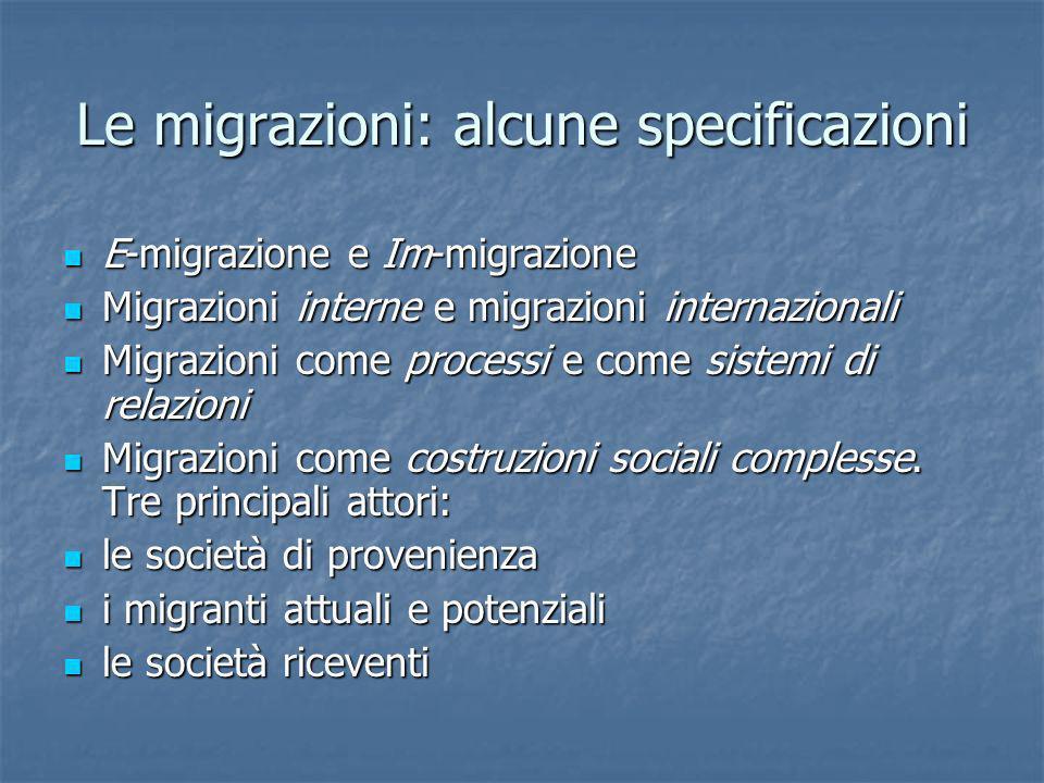 Le migrazioni: alcune specificazioni