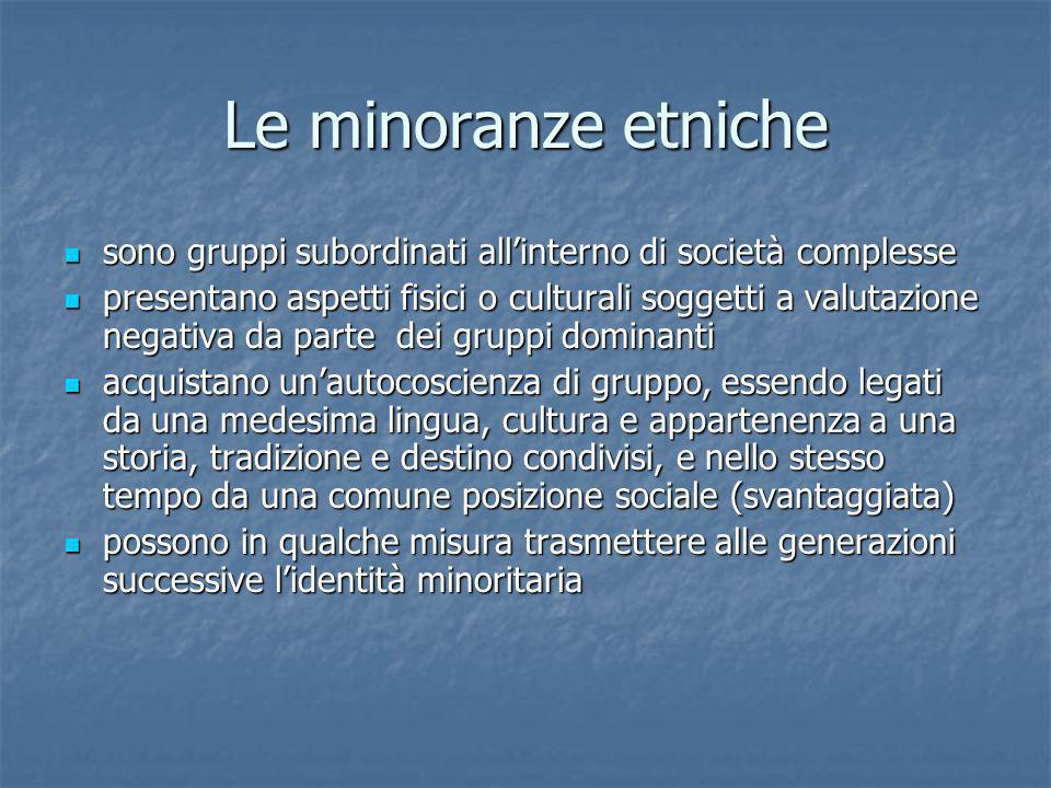 Le minoranze etniche sono gruppi subordinati all'interno di società complesse.