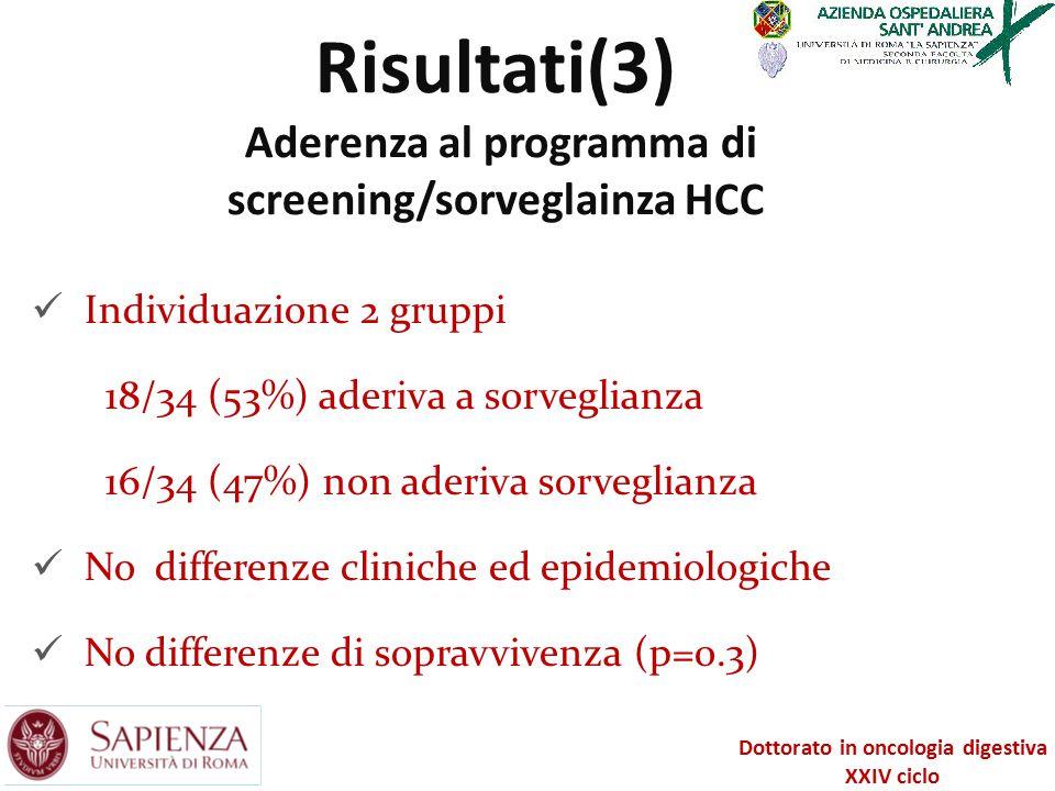 Risultati(3) Aderenza al programma di screening/sorveglainza HCC