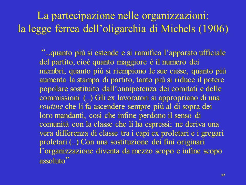 La partecipazione nelle organizzazioni: la legge ferrea dell'oligarchia di Michels (1906)