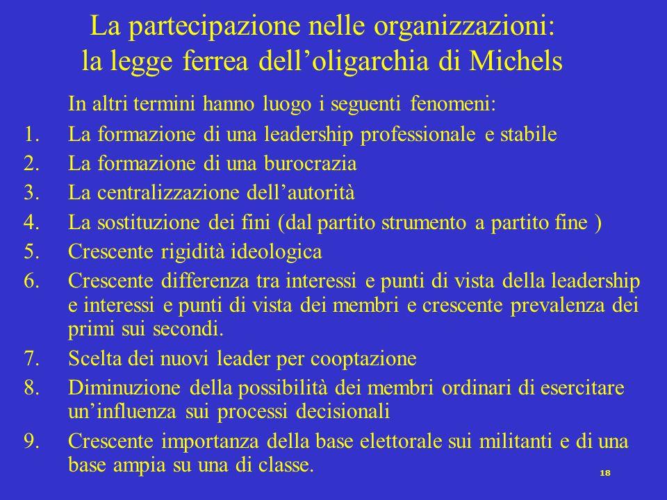 La partecipazione nelle organizzazioni: la legge ferrea dell'oligarchia di Michels