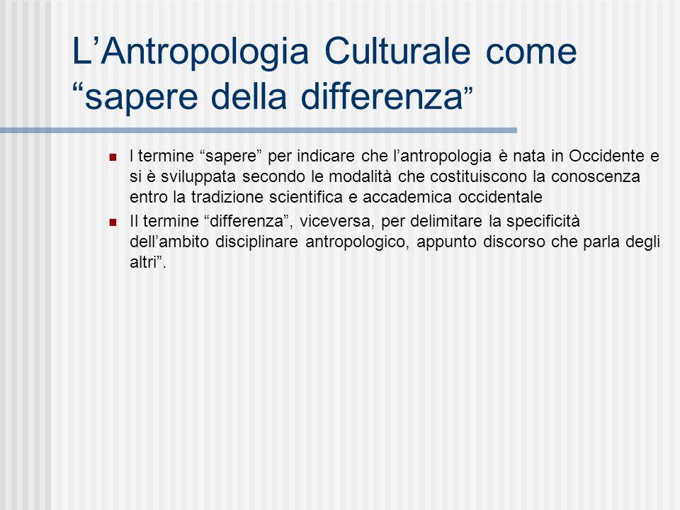 L'Antropologia Culturale come sapere della differenza