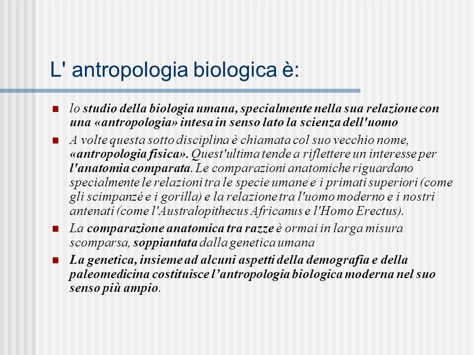 L antropologia biologica è: