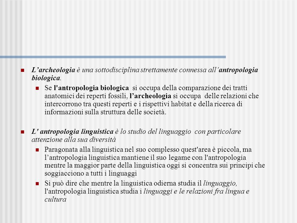 L'archeologia è una sottodisciplina strettamente connessa all'antropologia biologica.