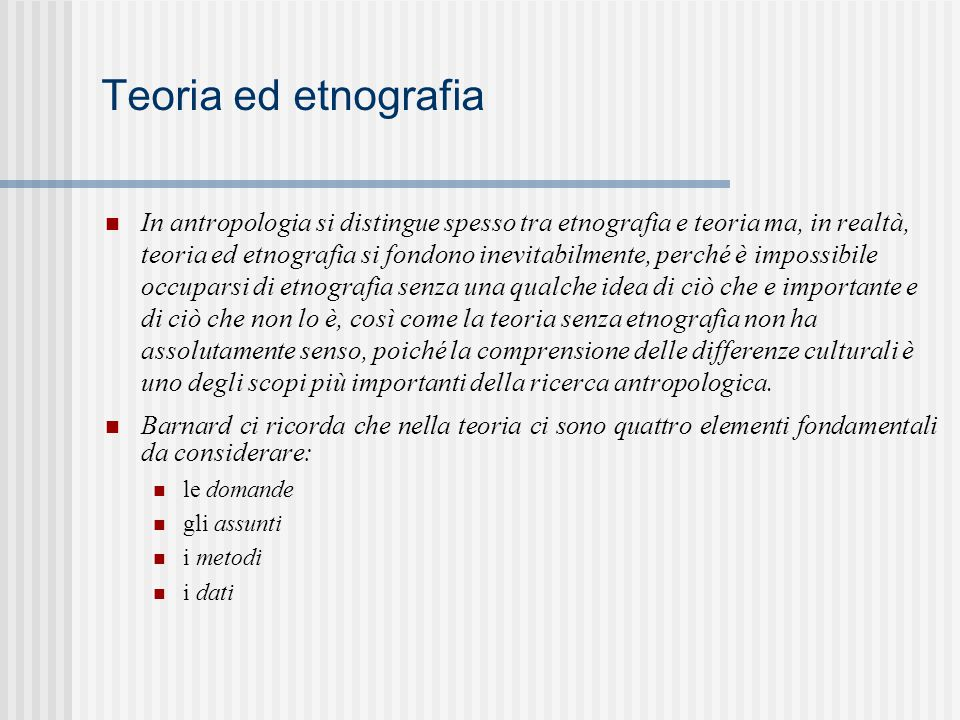Teoria ed etnografia