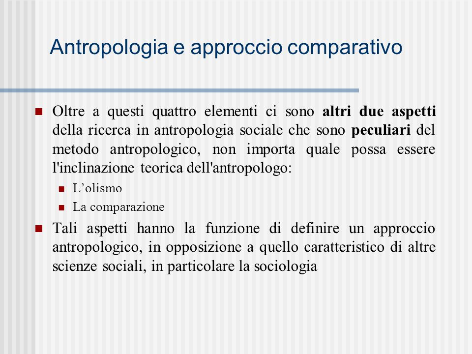 Antropologia e approccio comparativo