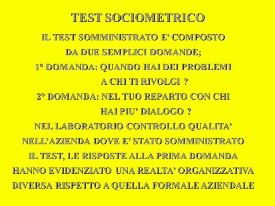 TEST SOCIOMETRICO IL TEST SOMMINISTRATO E' COMPOSTO