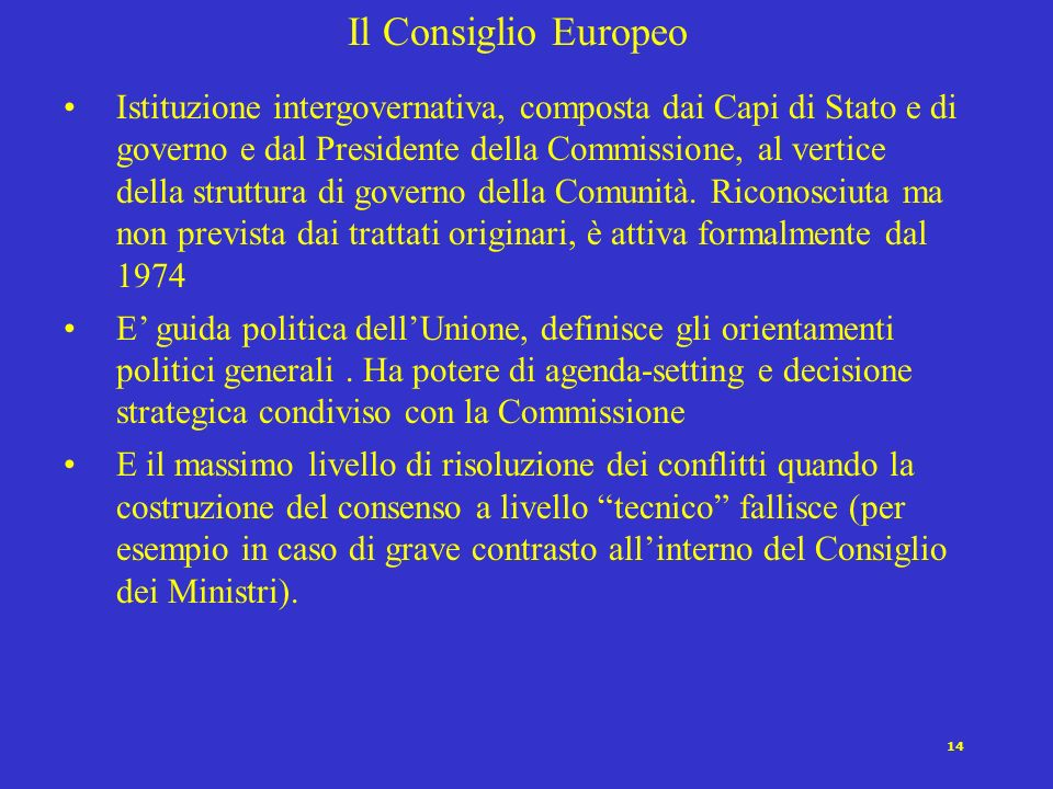 Il Consiglio Europeo
