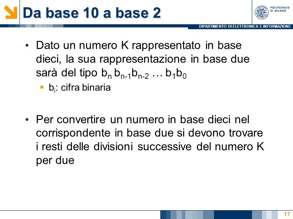 Da base 10 a base 2 Dato un numero K rappresentato in base dieci, la sua rappresentazione in base due sarà del tipo bn bn-1bn-2 … b1b0.