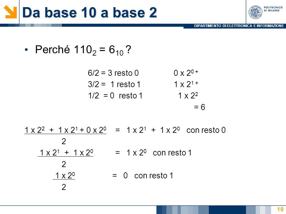 Da base 10 a base 2 Perché 1102 = 610 6/2 = 3 resto 0 0 x 20 +