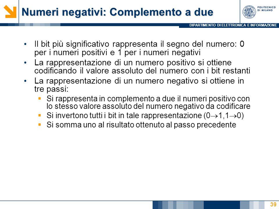 Numeri negativi: Complemento a due