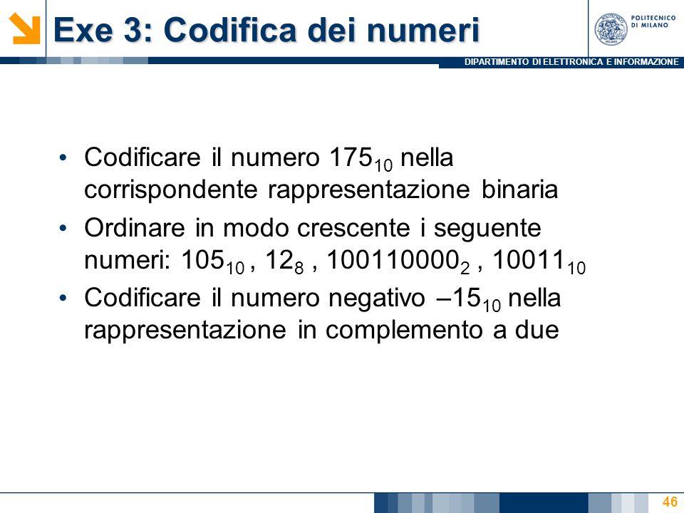 Exe 3: Codifica dei numeri