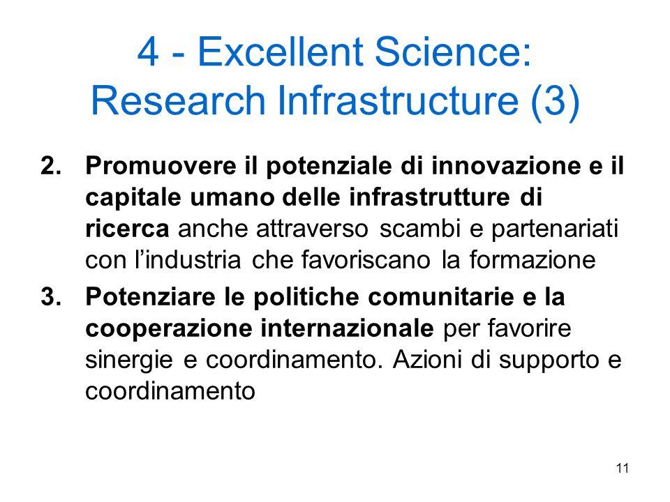 4 - Excellent Science: Research Infrastructure (3)