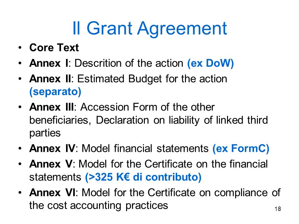 Il Grant Agreement Core Text