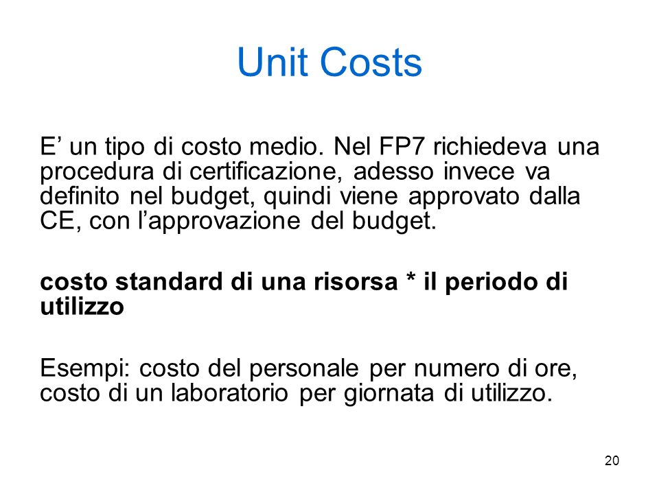 Unit Costs
