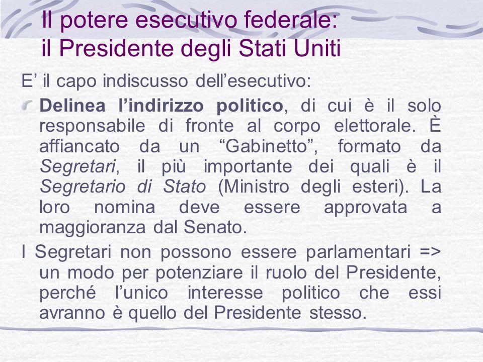 Il potere esecutivo federale: il Presidente degli Stati Uniti