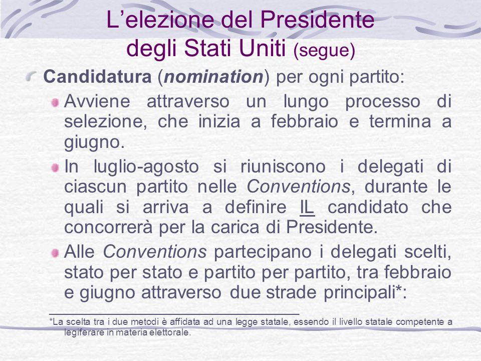 L'elezione del Presidente degli Stati Uniti (segue)