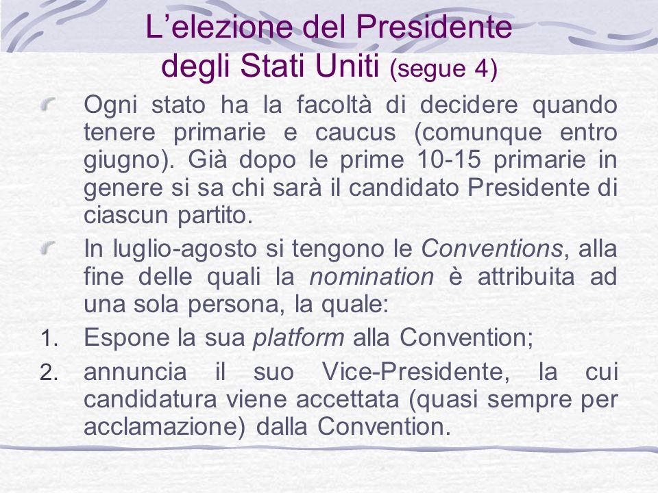 L'elezione del Presidente degli Stati Uniti (segue 4)