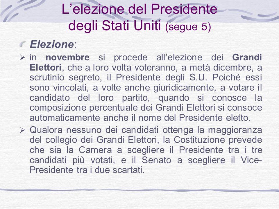 L'elezione del Presidente degli Stati Uniti (segue 5)