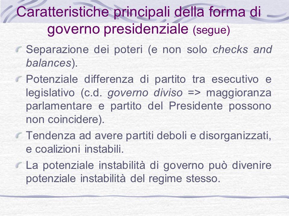Caratteristiche principali della forma di governo presidenziale (segue)