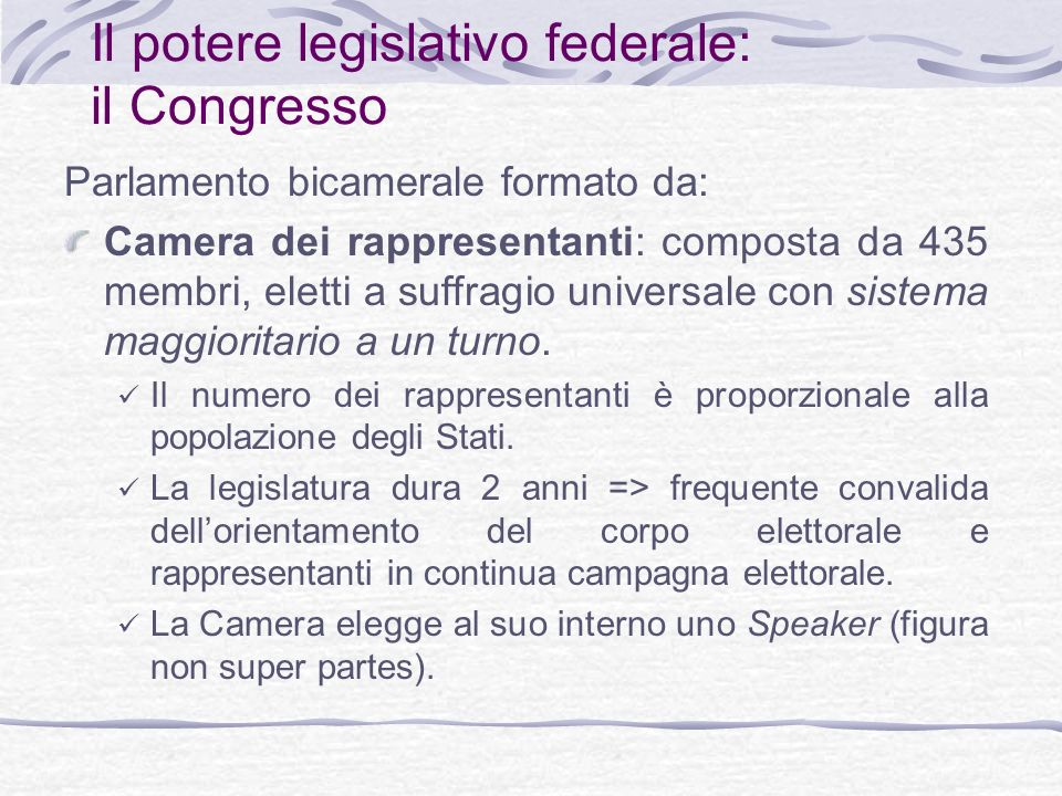 Il potere legislativo federale: il Congresso