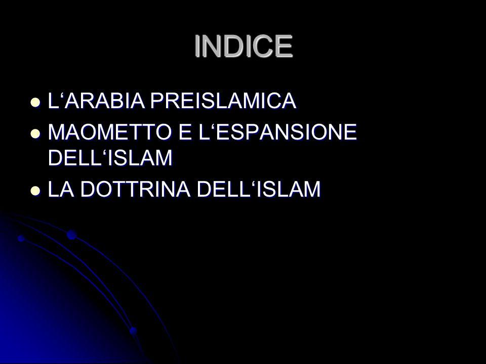 INDICE L'ARABIA PREISLAMICA MAOMETTO E L'ESPANSIONE DELL'ISLAM